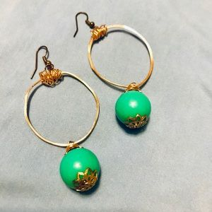Gold and Teal Hoops